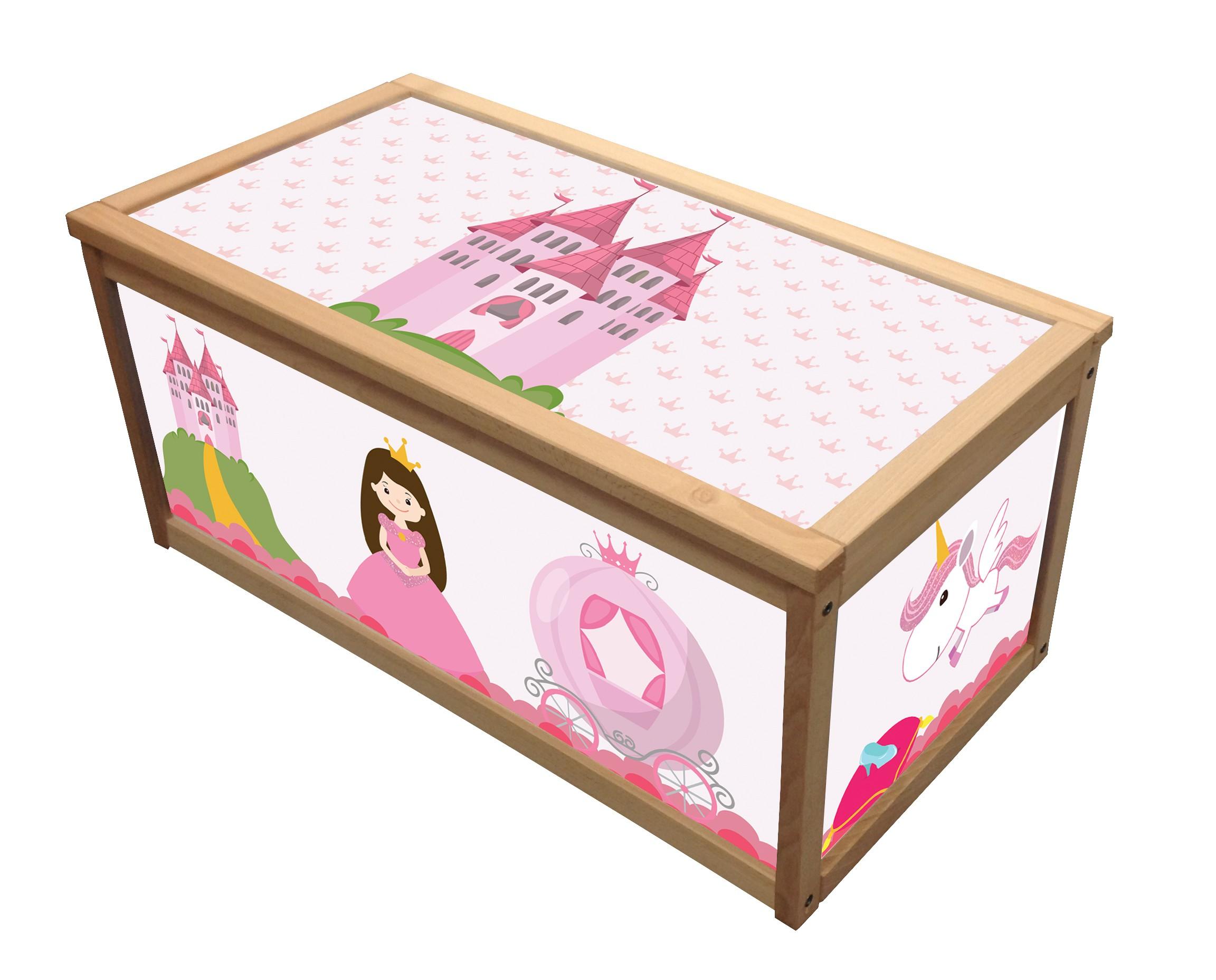 Princess Wooden Toy Box Storage Unit For Girls Children